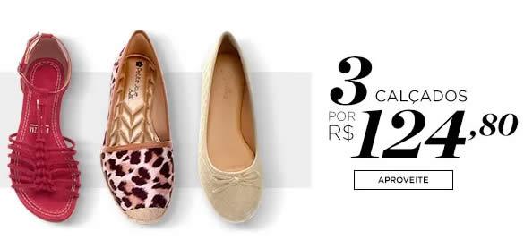 3calcados1 - Zattini - 3 Calçados Femininos por R$ 124,80 - Diversos Modelos