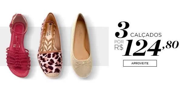 3calcados1 - Combo - 3 Calçados Femininos por R$ 124,80