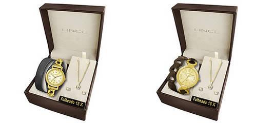55858c25590 lince kit - Kit Relógio Feminino Lince Fashion com Brinco e Corrente  Folheados a Ouro 18K
