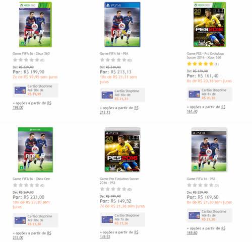 pesfifa16 - FIFA 16 e PES 16 com 15% de desconto