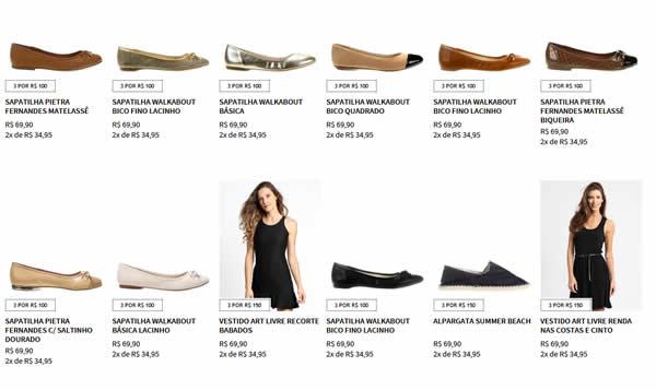 3por150 - 3 Produtos da Lista por R$ 150,00 (Vestidos, Scarpins, Sapatilhas, Sandálias, Mocassim)