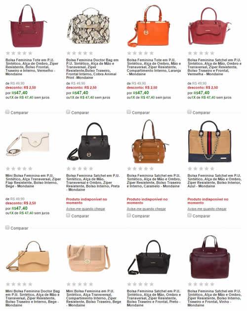 d3a4c1ddbaa8d Bolsas Femininas Mondaine (Vários Modelos e Cores) - A partir de R ...