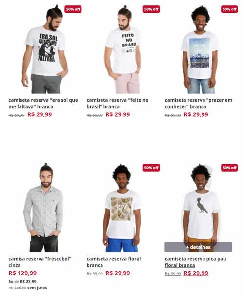 ca - Corre! Camisetas Reserva a partir de R$ 29,99