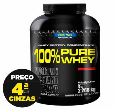 whey protein - 100% Pure Whey Chocolate 2268G - Probiótica - R$ 179,90
