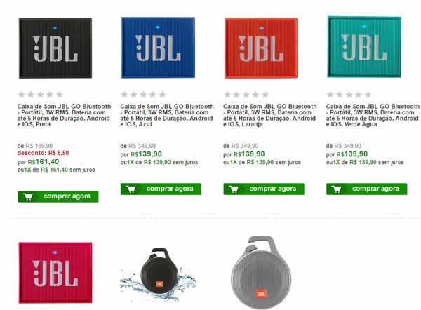 jbl 2 - Caixa de Som JBL GO Bluetooth - R$ 139,90