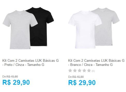 camisetas luk - Kit Com 2 Camisetas LUK Básicas - R$ 29,90