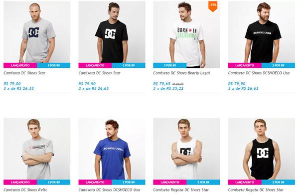 camiseta dc - Netshoes - 2 Camisetas DC Shoes por R$ 89,00