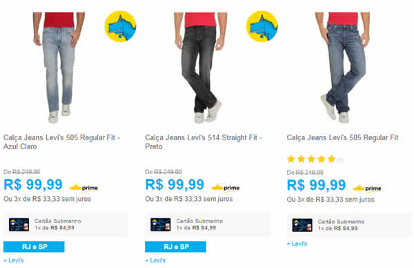 calcajeans - Calça Jeans Levi's por R$ 99,99 - Diversos Modelos