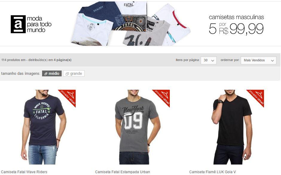 camiseta - 5 Camisetas Masculinas por R$ 99,99
