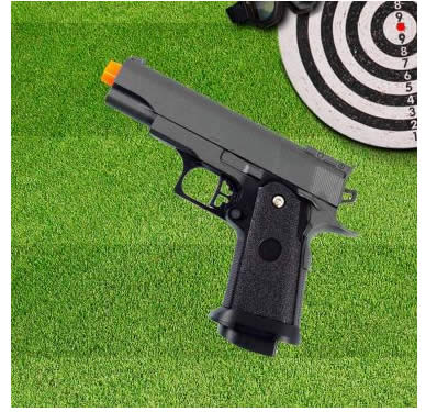 pistola - Pistola Airsoft Calibre 6,0 mm G10 Spring Full Metal - Galaxy - R$ 99,90