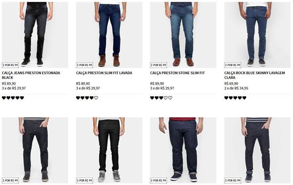 2dc3a6377 Zattini - 2 Calças Jeans Masculinas por R$99,00 - Pirata dos Descontos