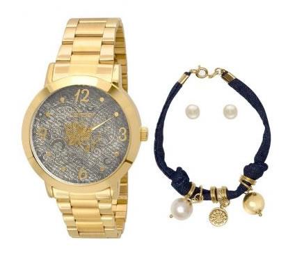 relogio pulseira - Kit Relógio Feminino Condor + Pulseira + Brincos - R$ 119,90