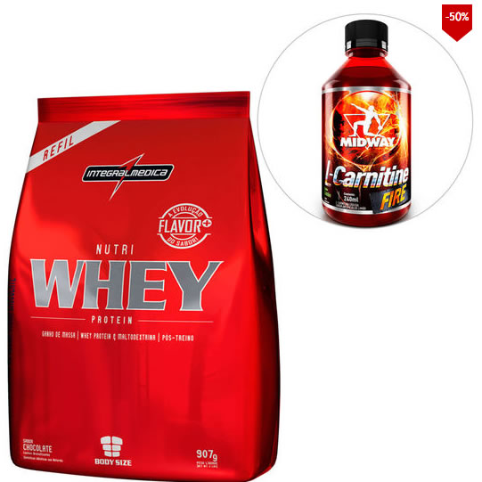 whey 2 - Kit Nutri Whey Protein 907 G Refil + L-Carnitine Fire - R$ 49,90