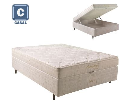 colchao - Box Conjugado Casal com Baú Herval Evolution Mola Bonnel - R$ 799,90