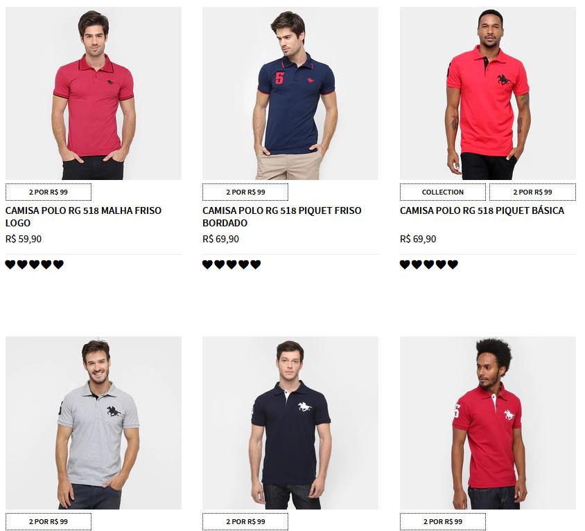 camisa polo - Zattini - 2 Polos por R$ 99