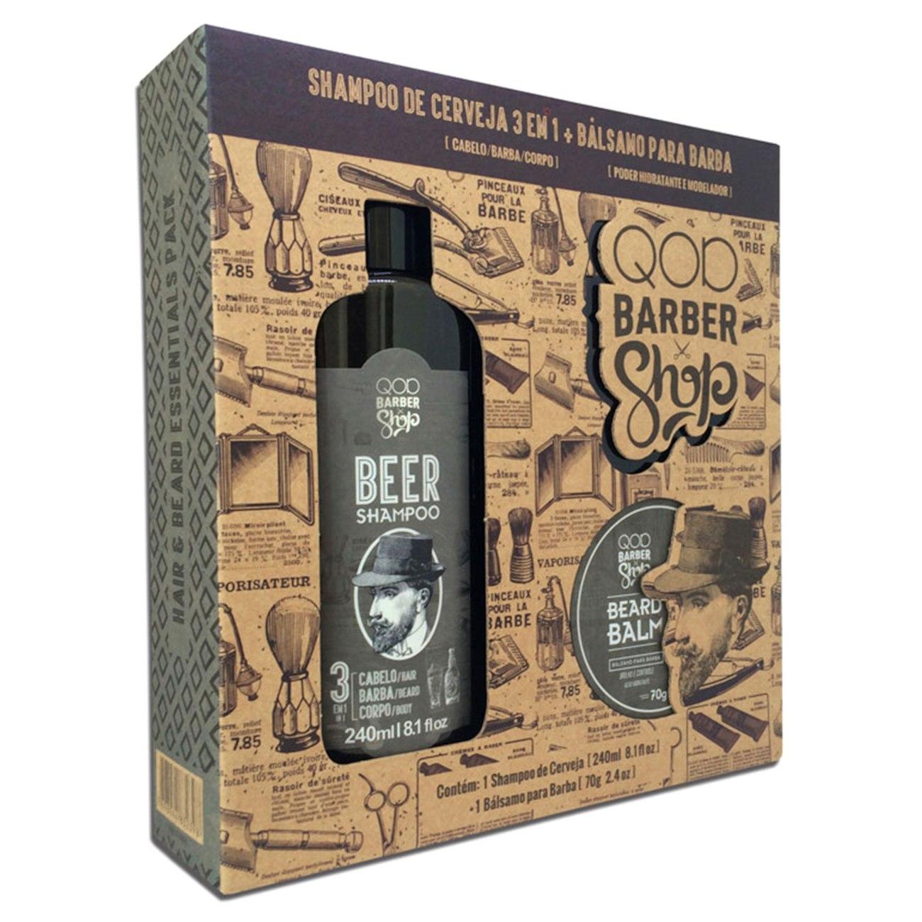 kit barbber shop - Kit QOD Barber Shop Shampoo de Cerveja 3 em 1 - R$19,90