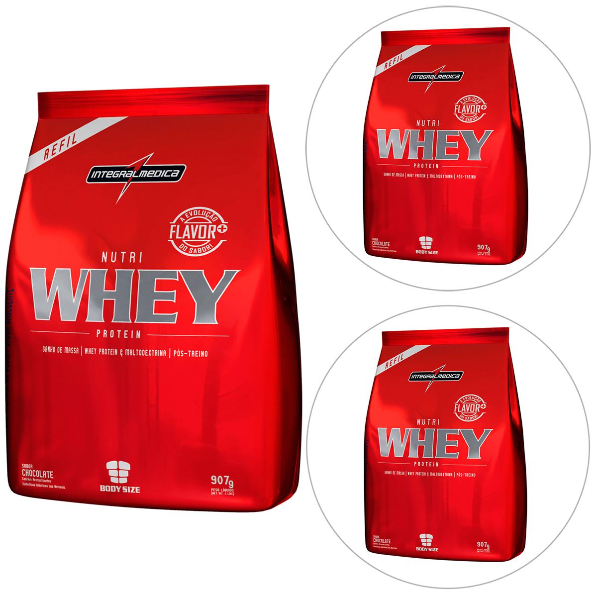 kit whey integral - 3 Whey Protein 907g - IntegralMédica - R$99,90