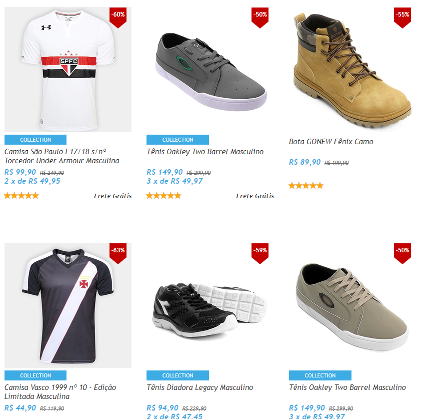 outlet - Outlet Netshoes - Mínimo 50% OFF