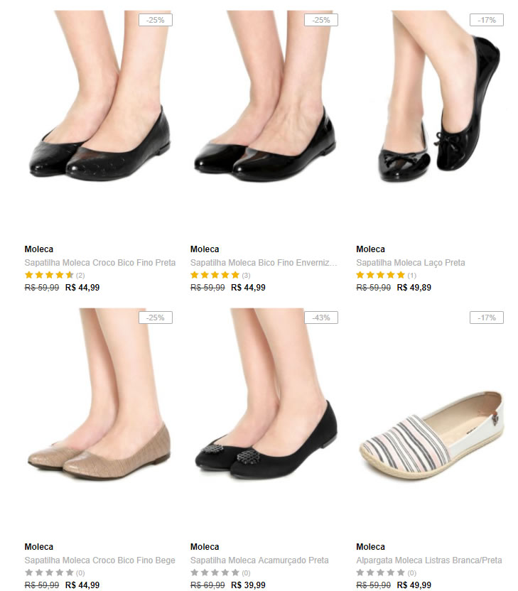 sapatilhas moleca - Dafiti - 3 Sapatilhas Moleca R$99