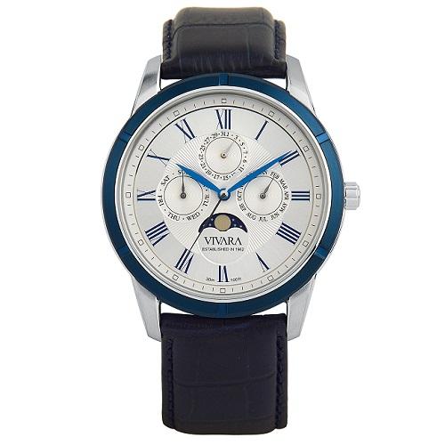 relogio vivara - Relógio Vivara Masculino Couro Azul - R$ 385,00