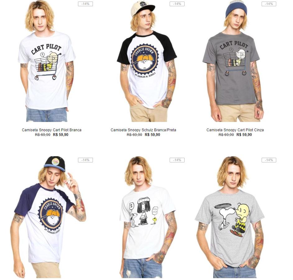 659cf725f9 Kanui - 3 Camisetas Snoopy por R 99 - Pirata dos Descontos