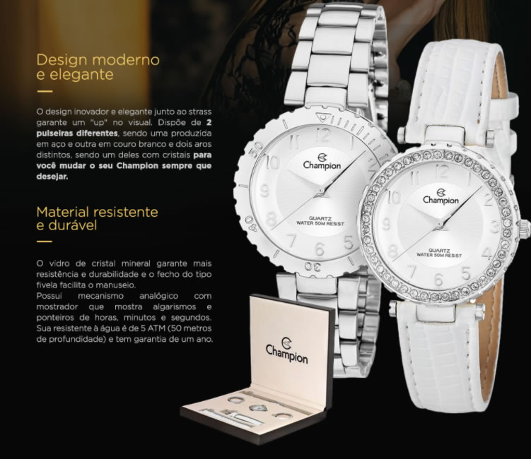 relogio champion - Relógio Feminino Champion Troca Pulseira e Troca Aro - R$ 154,90