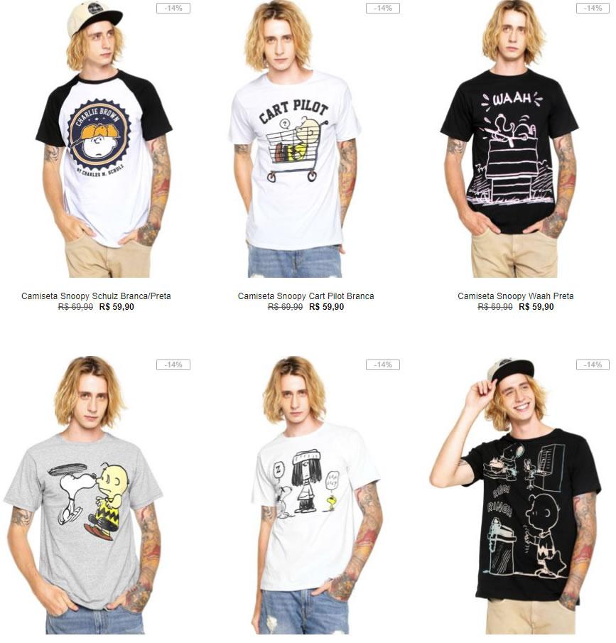 2202442bb5c7e Kanui - 3 Camisetas Snoopy por R 99 - Pirata dos Descontos