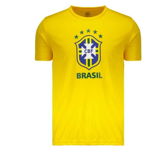 camisa brasil - Camisa Brasil CBF Logo Amarela - R$49,90