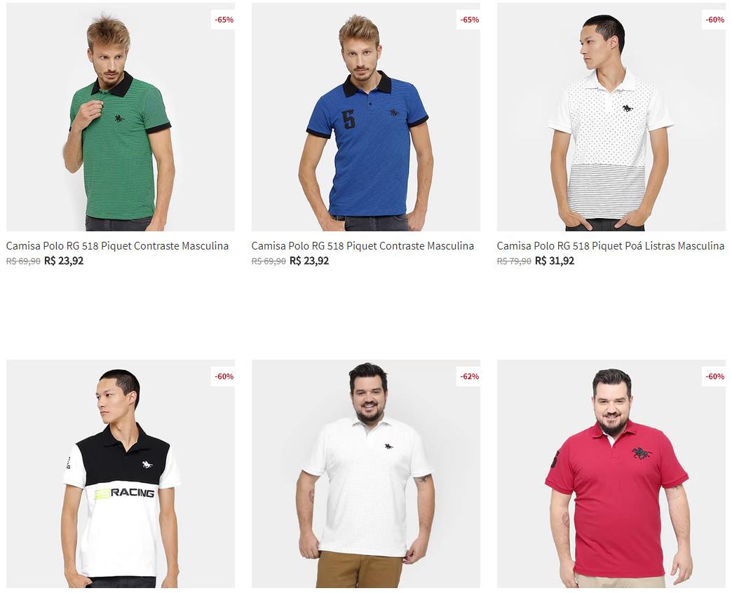 camisa polo rg - Zattini - Camisa Polo RG 518 a partir de R$23,92
