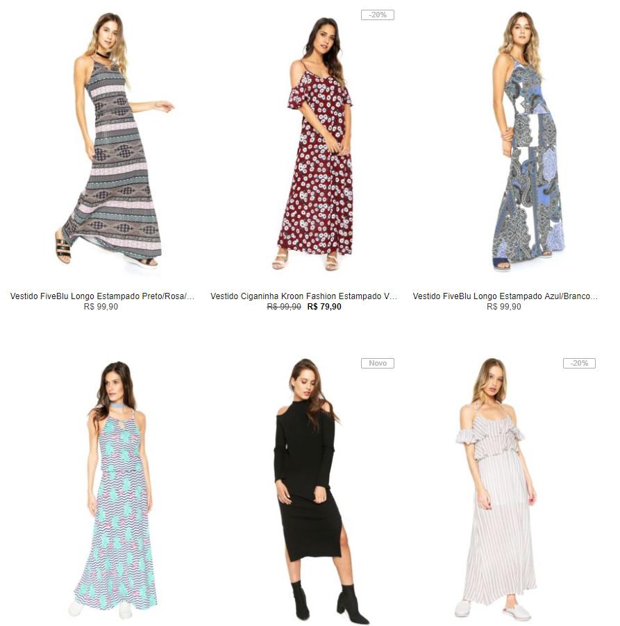 vestido longo - Escolha 3 Vestidos Longos na Kanui por R$ 149