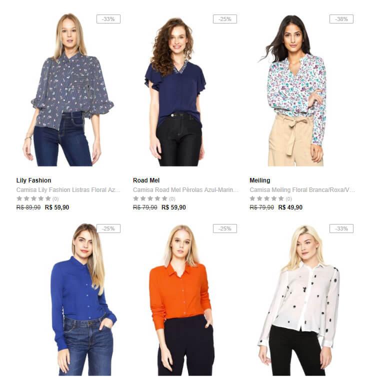 camisas femininas - Dafiti - 3 Camisas Femininas por R 99 981774cb2a1