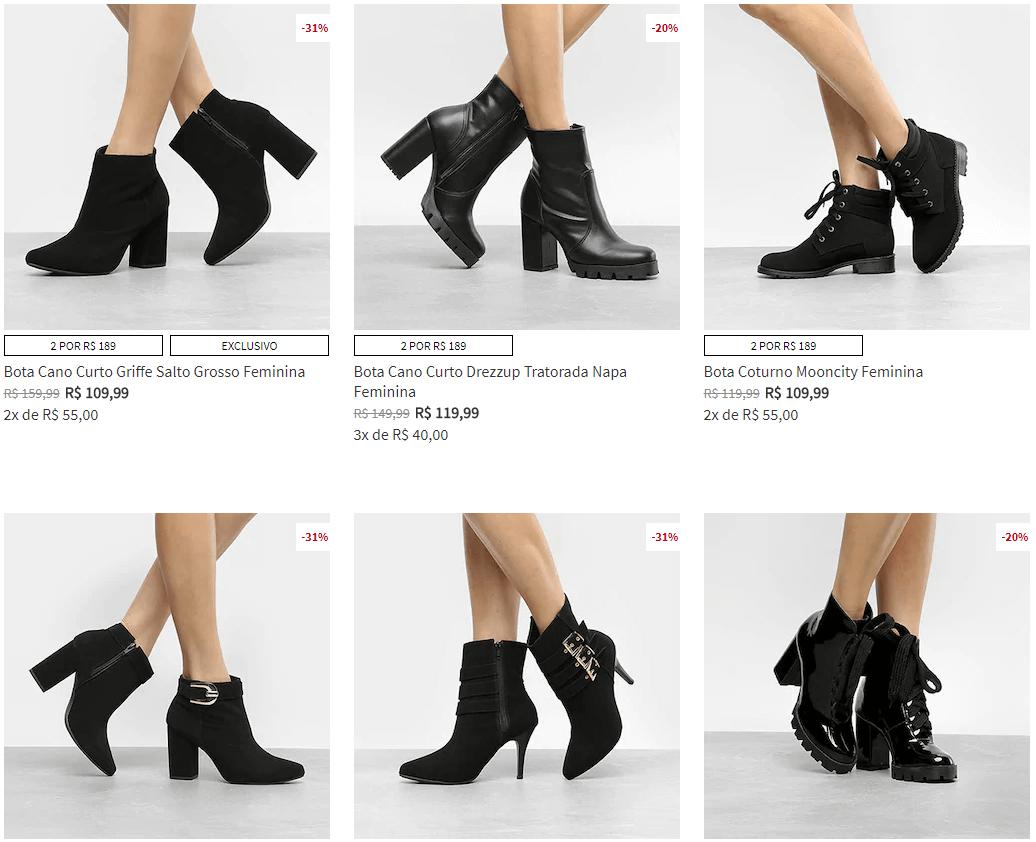 2 botas - Escolha 2 Botas na Zattini por R$189