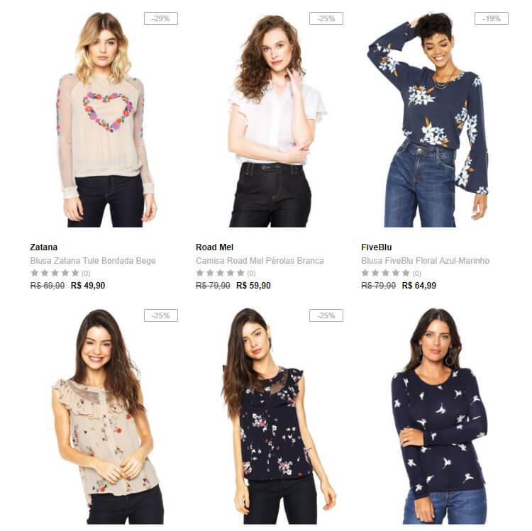 camisas 1 - Dafiti - Escolha 3 Camisas ou Blusinhas por R$99