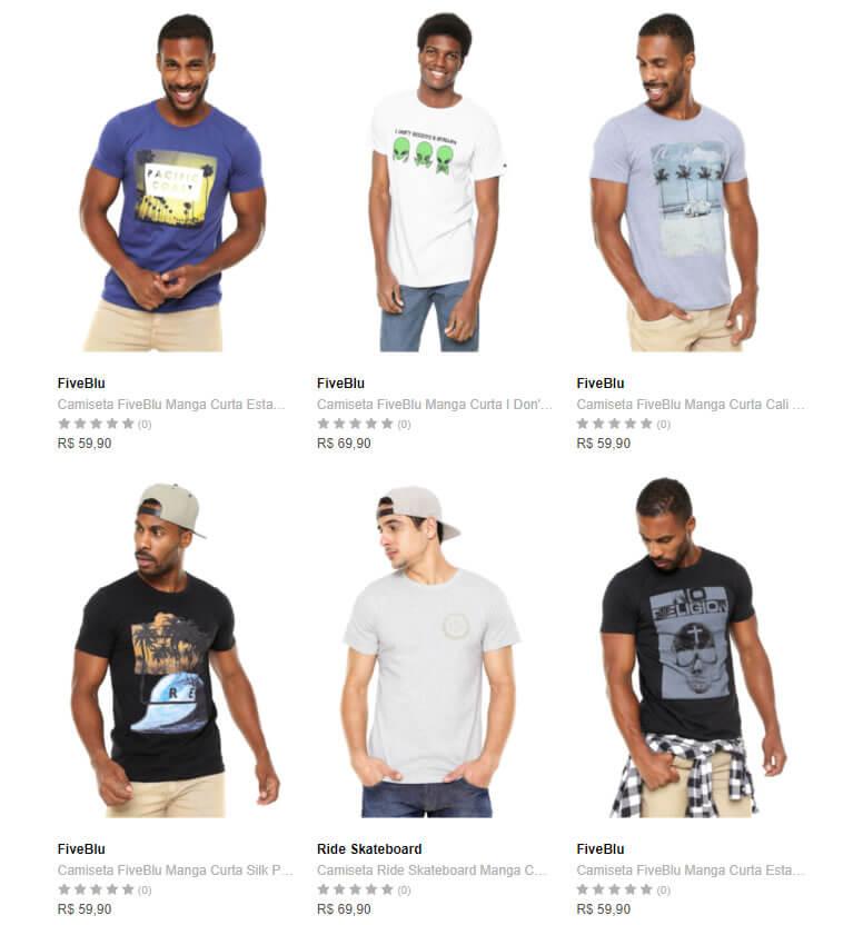 camiseta - Dafiti - Escolha 5 Camisetas por R$99