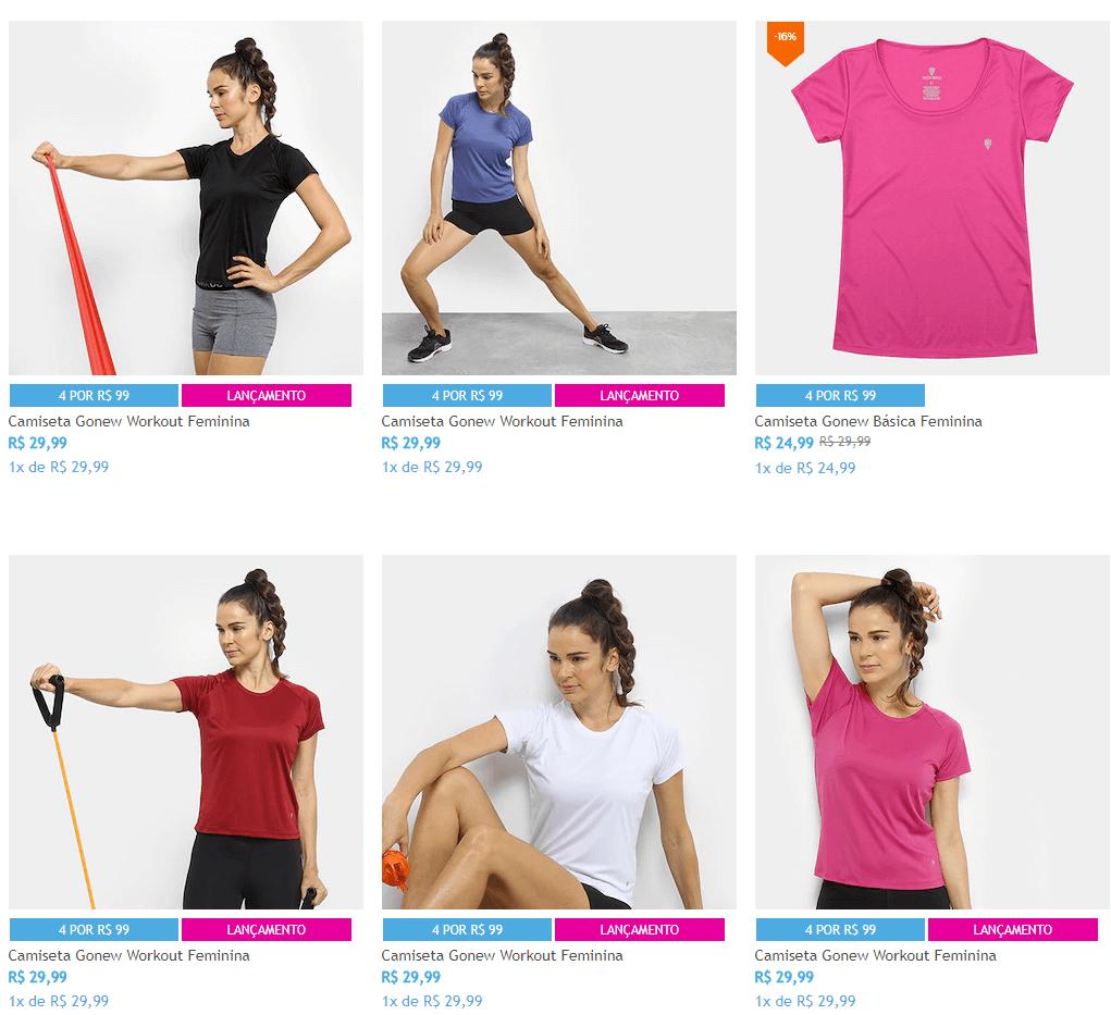 camisetas 1 - Netshoes - 4 Camisetas Femininas de Treino por R$99