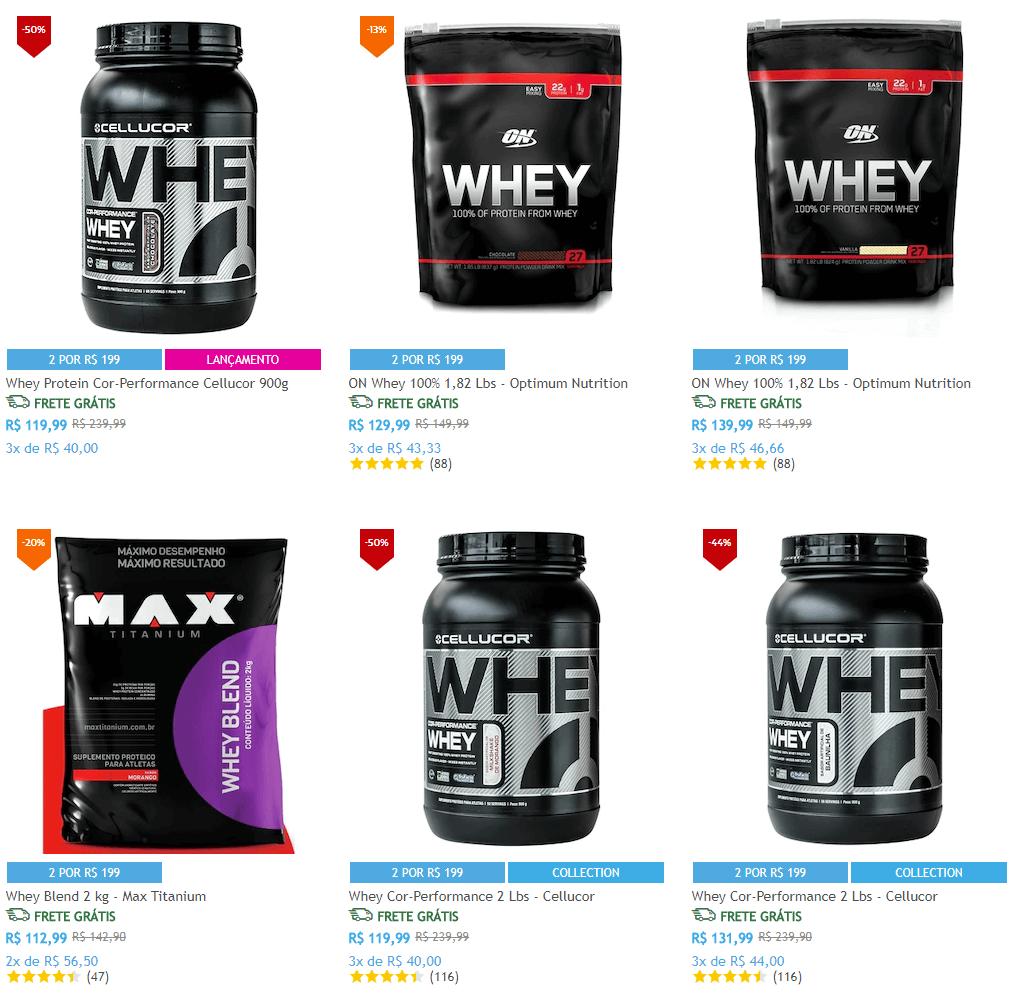 suplementos - Escolha 2 Whey Protein na Netshoes por R$199