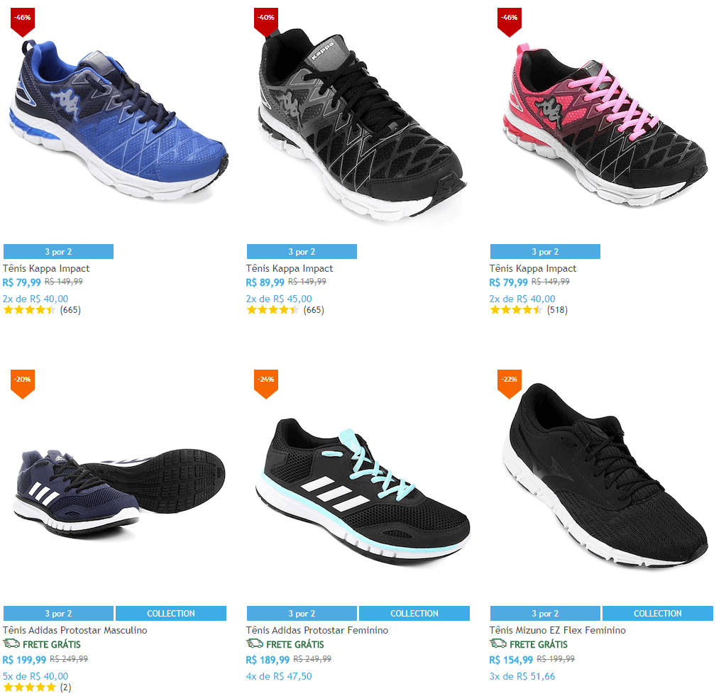 tenis - Netshoes Tênis - Compre 3 pelo preço de 2