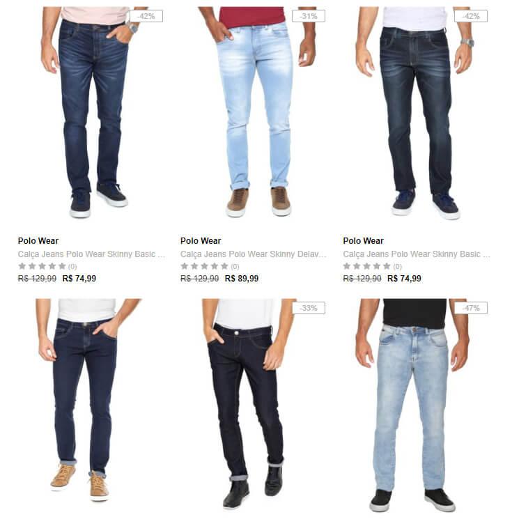 calca jeans - Dafiti - 3 Calças Jeans Masculinas por R$199