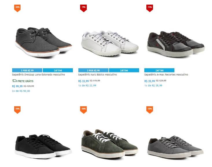 sapatenis - Netshoes - 3 Sapatênis por R$99