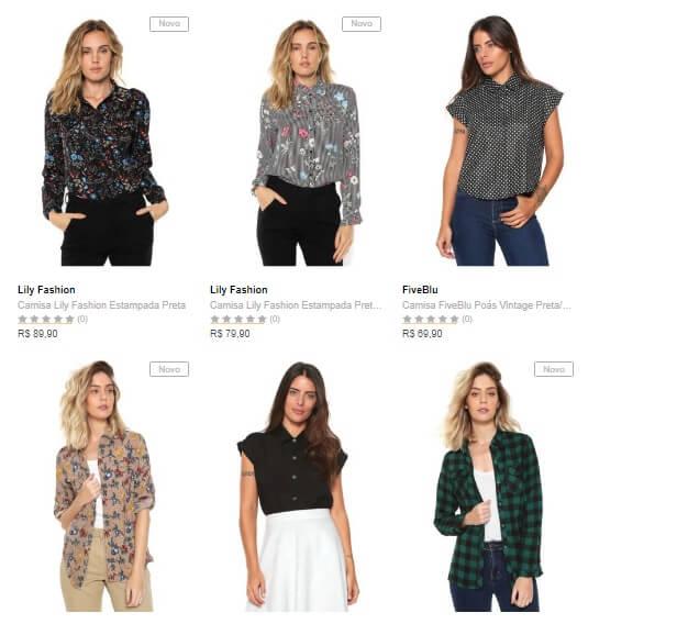 camisas - Dafiti - 3 Camisas Femininas por R$149