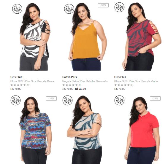 moda plus size - Moda Plus Size na Dafiti - 3 Peças por R$99