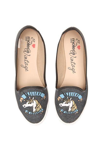 moleca slipper - Slipper Moleca Unicórnio Cinza - R$ 24,99