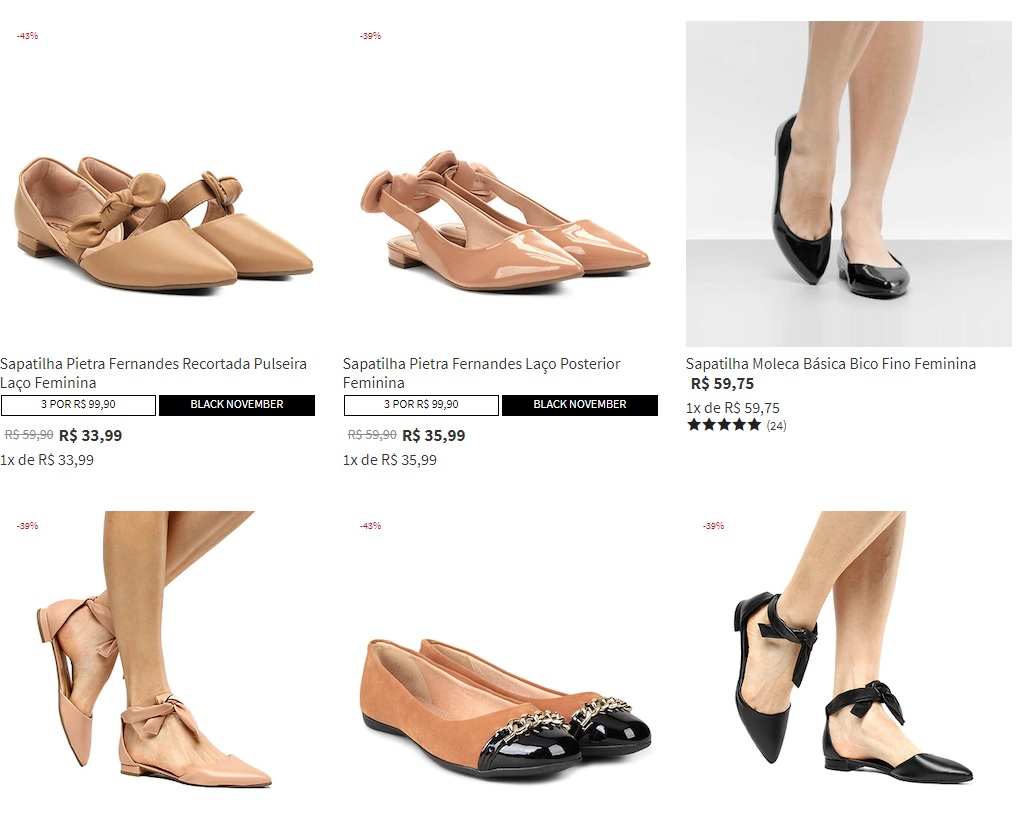 sapatilhas - Leve 3 Sapatilhas na Zattini por R$99,90