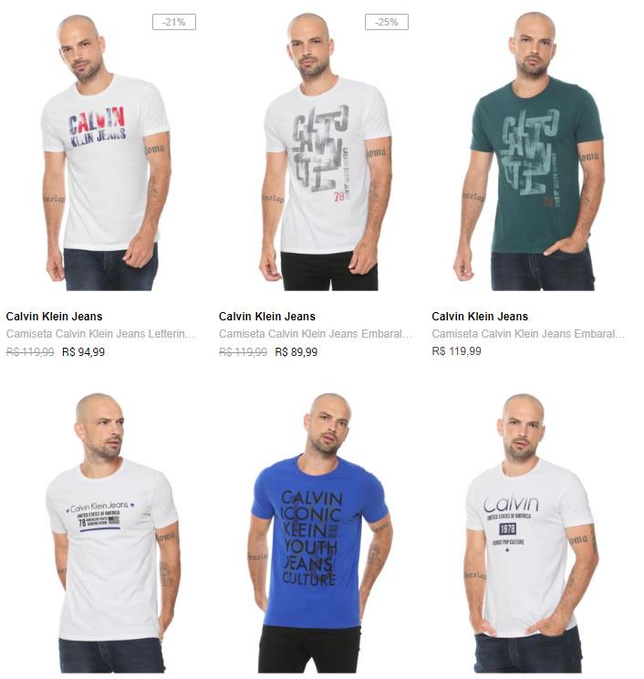 camiseta calvin klein - Camiseta Calvin Klein na Dafiti - 2 por R$139