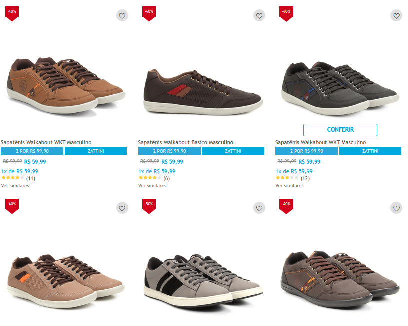 2 sapatenis walkabout - Netshoes - 2 Sapatênis Walkabout por R$99,90