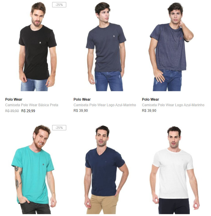 r2 c2 - Dafiti - Escolha 4 Camisetas Básicas por R$99