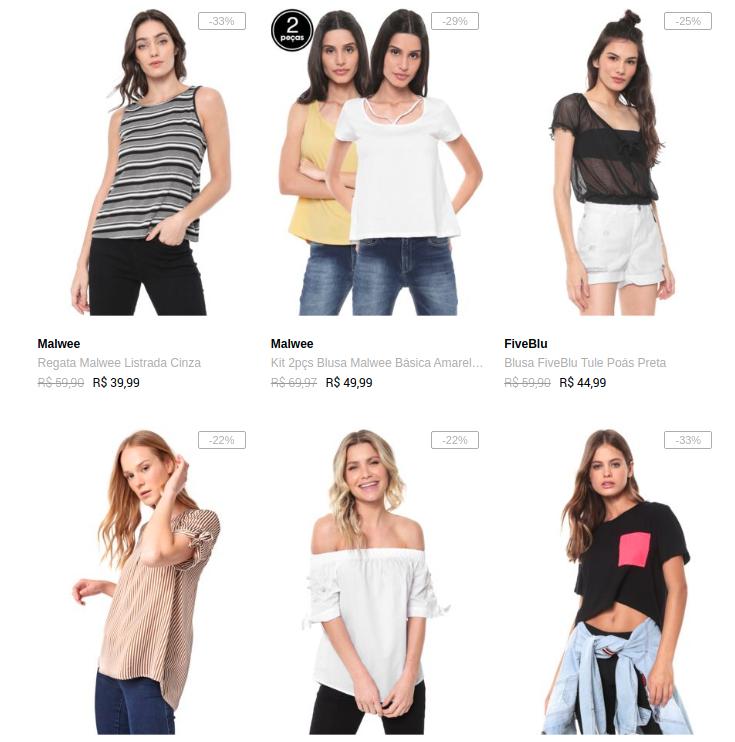 blusinha - Escolha 3 Blusinhas por R$99 na Dafiti
