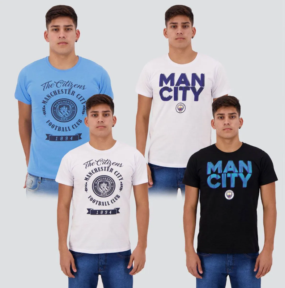 kit camisetas manchester city - Kit de 4 Camisetas Manchester City - R$ 118,90