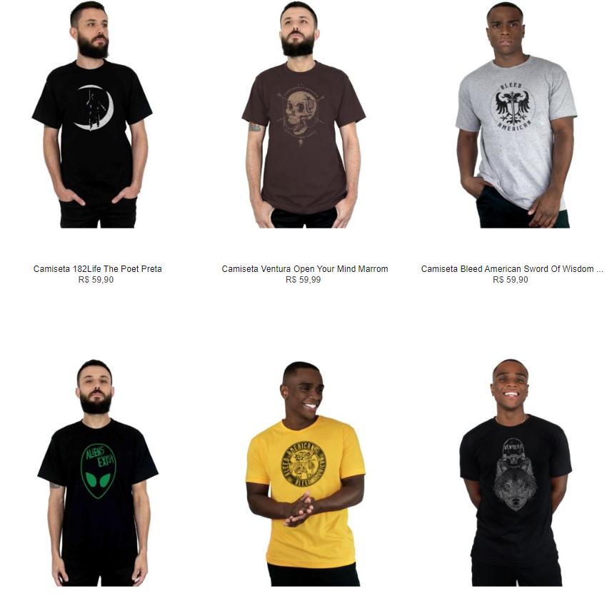 6CAM109A - Escolha 6 Camisetas por R$109 na Kanui - 6CAM109A