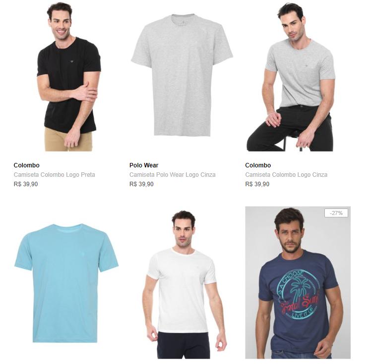 6CA149M - Dafiti - 6 Camisetas por R$149 - 6CA149M